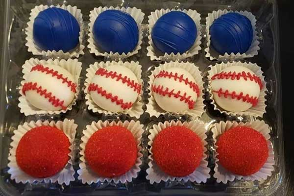 Texas Ranger Themed Cake Balls